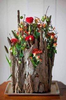 Vaza originala dintr-o bucata de copac putrezit