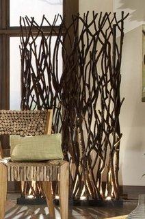 Paravan decorativ rustic din ramuri