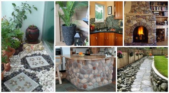 15 idei unice de decoratiuni ingenioase cu pietre de rau pentru casa si gradina ta