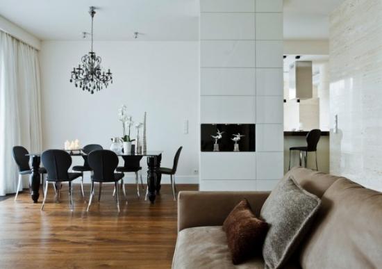 Dining modern cu decor alb negru