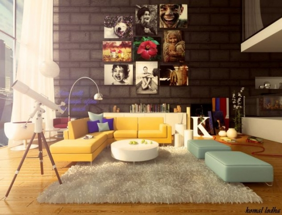 Mobilier si decoratiuni colorate living
