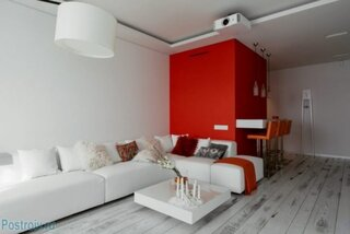 Decor alb rosu living