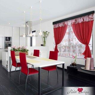 Perdea rosie scurta pentru bucatarie asortata cu scaunele