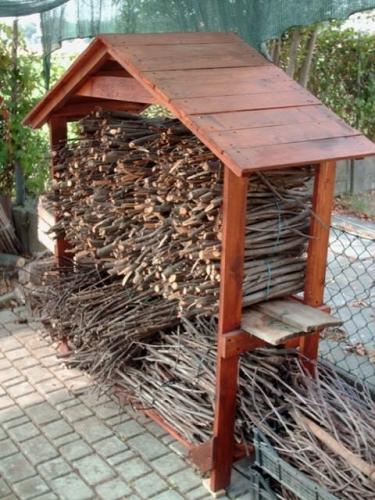 Spatiu pentru depozitarea lemnelor de foc cu acoperis