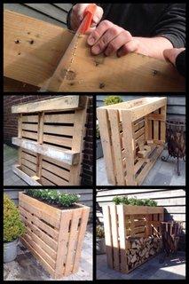Suport pentru lemne foc din paleti refolositi