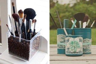 Idei pentru decorarea recipientelor cu pensule si perii