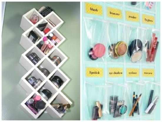 Suport vertical pe perete pentru cosmetice