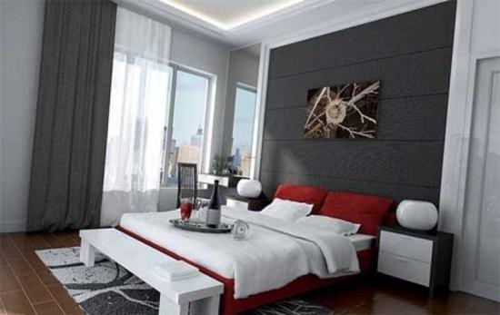 Dormitor cu peretii gri si pat matrimonial rosu
