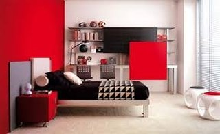 Decor alb rosu dormitor