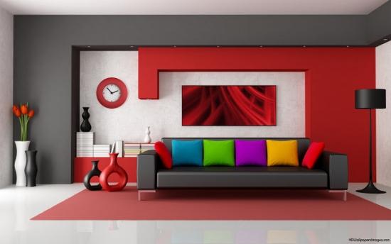 Decor gri rosu livingroom