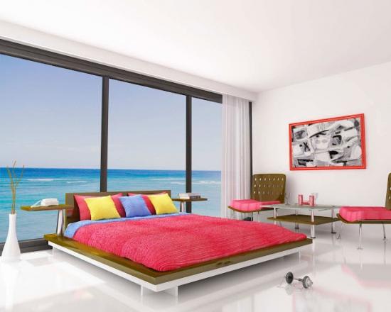 Dormitor matrimonial cu accente rosii