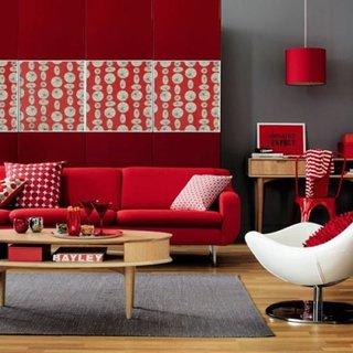 Living cu decor gri rosu