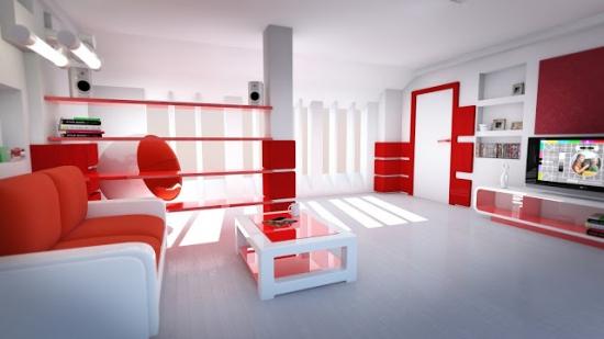 Living spatios cu decor alb rosu