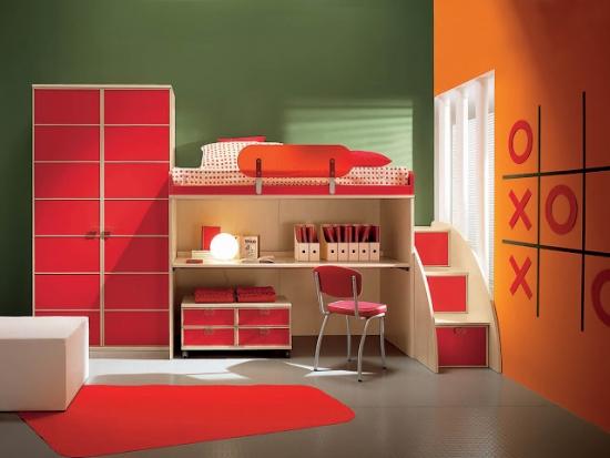 Mobilier rosu dormitor copii