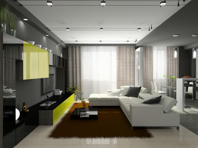 Sufragerie cu mobila neagra si canapea din piele alba
