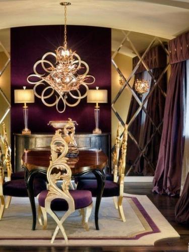 Auriu si violet combinatie cromatica pentru design luxos
