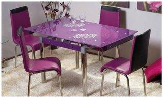 Masa cu blat de sticla violet