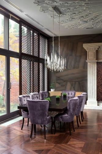Scaune dining tapitate cu catifea culoare lila