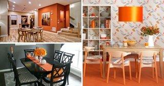 Modele de dininguri cu accente de portocaliu si rosu oranj