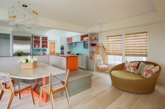 Zona open-space cu mobilier colorat