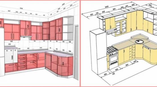 Distantele si dimensiunile standard din bucatarie de care trebuie sa tii cont - scheme si grafice