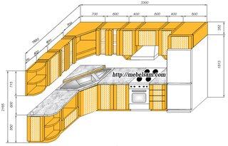 Plan dimensiuni bucatarie 1950 x 3300