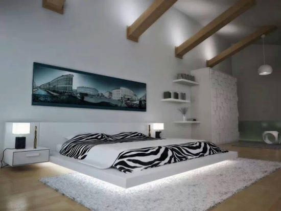 Dormitor alb cu accente negre