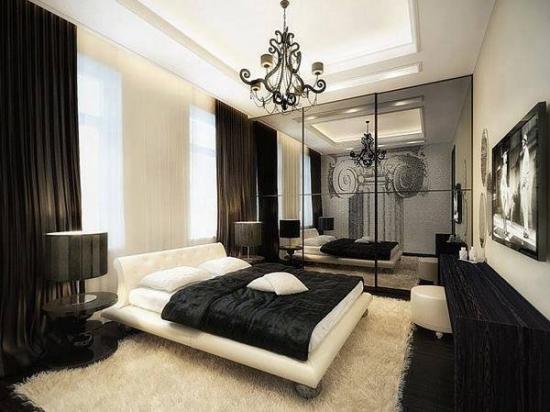 Dormitor modern in alb si negru