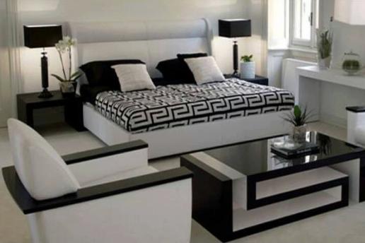 Mobilier dormitor in doua culori alb cu negru