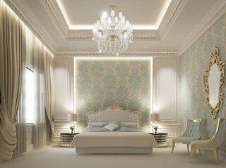 Dormitor alb cu accente de bleu