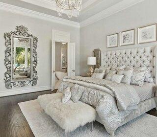 Dormitor alb cu gri
