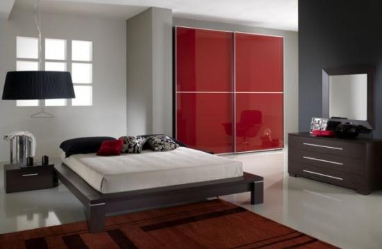 Decor minimalist rosu negru pentru dormitor