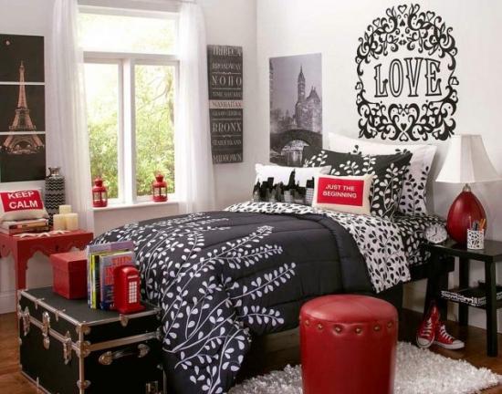 Decor negru rosu dormitor