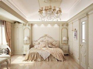 Dormitor luxos si rafinat cu candelabru