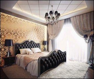 Tapet stilat intr-un dormitor ce emana eleganta