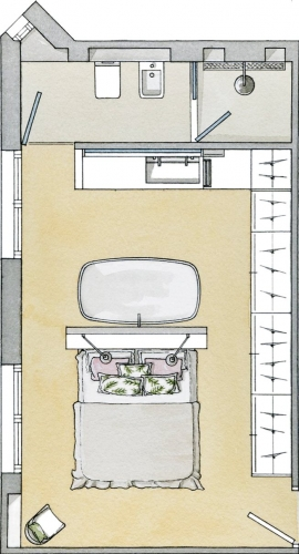 Plan al dormitorului matrimonial cu baie si dressing