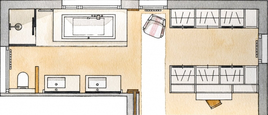 Plan dormitor matriamonial open space cu baie si dressing