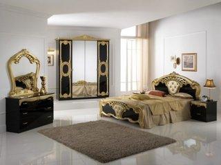 Mobilier dormitor negru auriu
