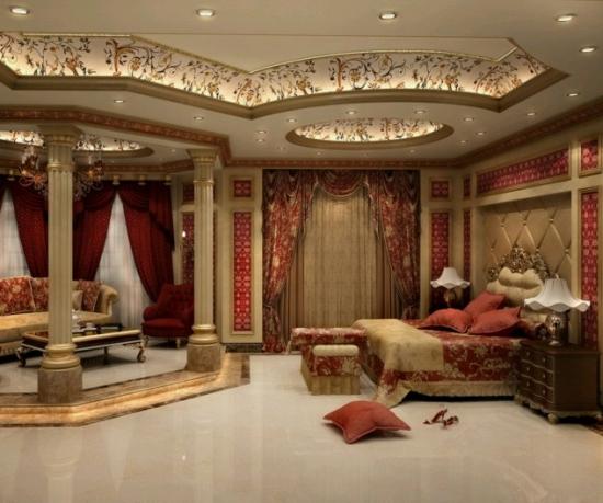 Dormitor amenajat cu rosu si auriu