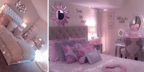 Dormitoare amenajate cu roz si gri