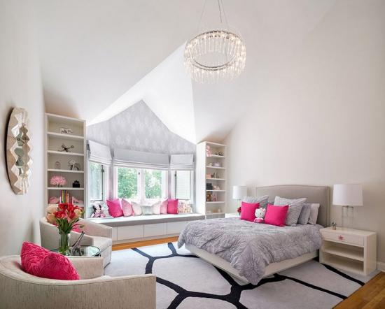 Dormitor modern roz cu gri si alb