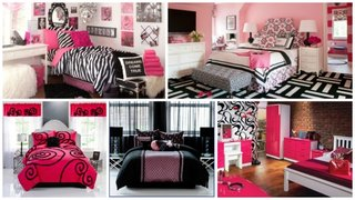 Dormitoare roz negru