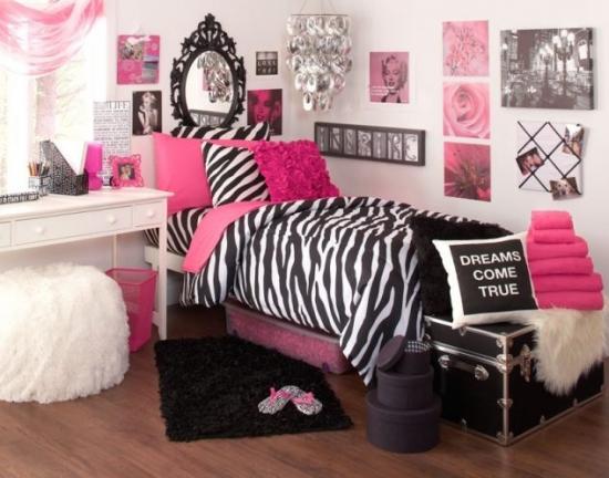 Dormitor roz negru adolescente