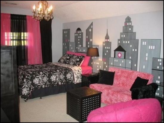 Dormitor roz negru