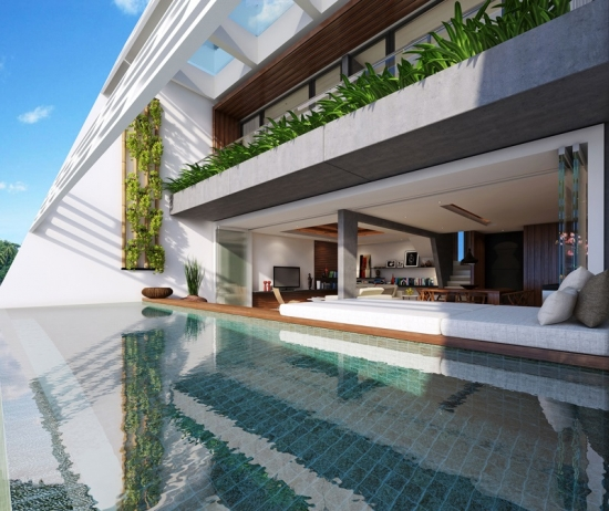 Proiect de casa moderna cu piscina exterioara