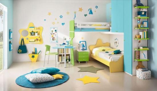 Dormitor sic pentru fete cu galben turcoaz si gri