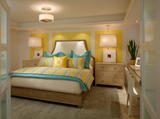 O sursa minunata de inspiratie pentru amenajarea unui dormitor cu gri, galben si turcoaz