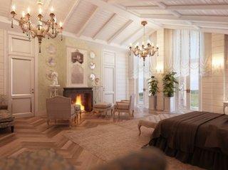 Dormitor cu decor clasic si semineu