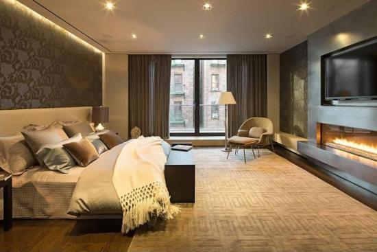Dormitor modern cu semineu