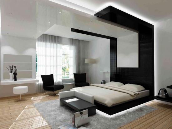 Dormitor alb cu negru si covor gri